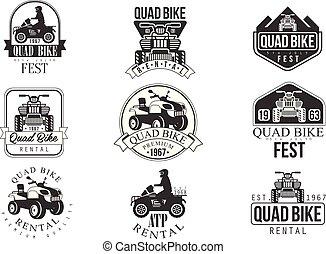 szolgáltatás, emblémák, bicikli, fekete, quad, fehér, bérlet