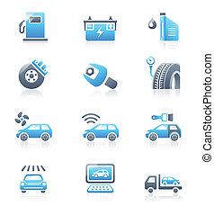 szolgáltatás, ikonok, sorozat, autó, tengeri, |