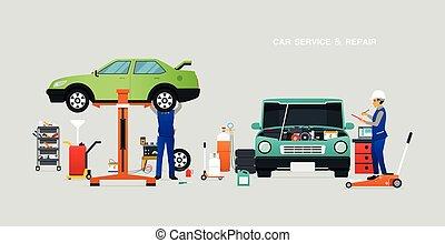 szolgáltatás, középcsatár, autó