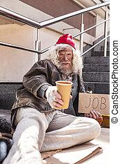 szomorú, otthontalan, ember, kérdezés, helyett, segítség