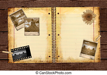 szomorú, utazás, fénykép, folyóirat