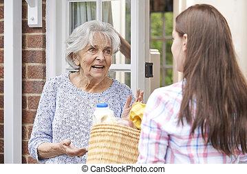 szomszéd, személy, bevásárlás, öregedő