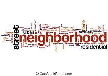 szomszédság, szó, felhő
