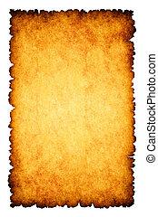 szorstki, papier, spalony, pergamin, tło