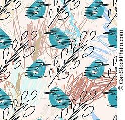 szorstki, sketched, błękitny, ptaszki, i, gałęzie drzewa