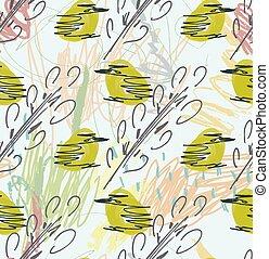 szorstki, sketched, zielony, ptaszki, i, gałęzie drzewa