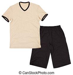 szorty, shirt., słodki, odizolowany, piłka nożna, ubranie ...