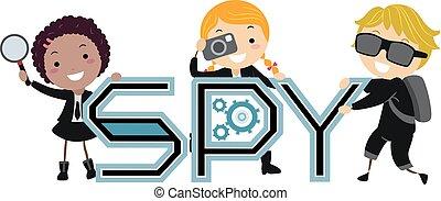 szpieg, dzieciaki, stickman, ilustracja