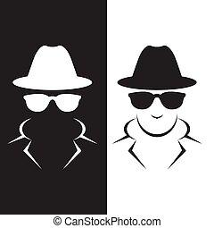 szpieg, undercover, przedstawiciel, albo