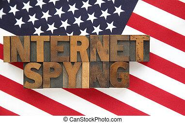 szpiegowanie, bandera, słówko, usa, internet