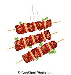 szpikulce, shish, cebule, tomatoes., kebab