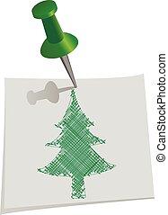 szpilka, notatki, drzewo, ilustracja, ręka, papier, wektor, przeć, pociągnięty, boże narodzenie