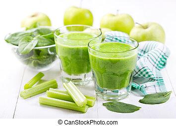 szpinak, okulary, sok, zielone jabłko