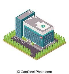 szpital, i, ambulans, budowa.