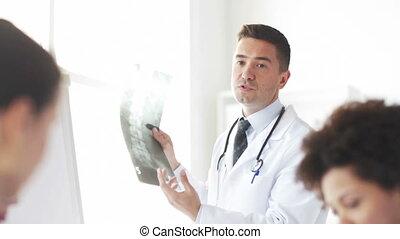 szpital, medics, grupa, rentgenowski, doktor