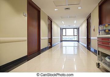 szpital, opróżniać, korytarz