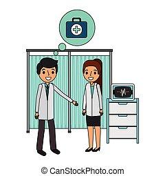 szpital, para, leczy