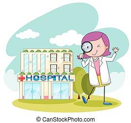 szpital, pracujący, doktor