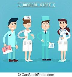szpital, staff., doktor., ilustracja, team., wektor, zdrowie, pielęgnować, medycyna, care., concept., professional., medyczny