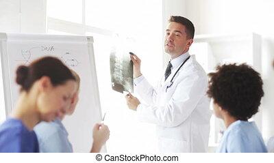szpital, szczęśliwy, grupa, rentgenowski, leczy