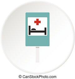 szpital, znak, rondo, ikona