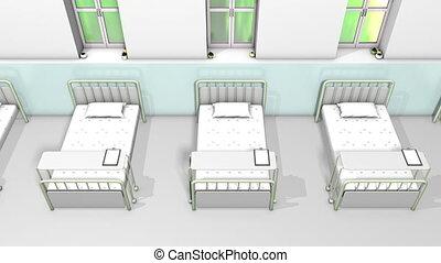 szpitalniana cela, łóżko