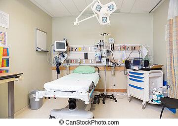 szpitalniany pokój, nagły wypadek