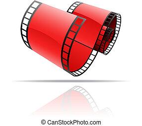 szpula, czerwony, film