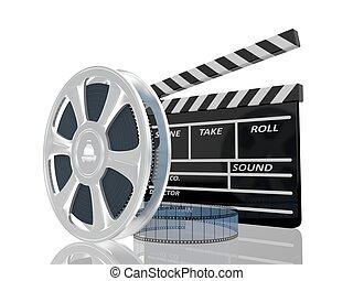 szpula, kino, na, ilustracja, klepać, tło, biały, film, 3d