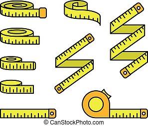 szpulka, linia, ikony, taśmy, miara, centymetr, komplet, taśma, szpule, -, mierniczy