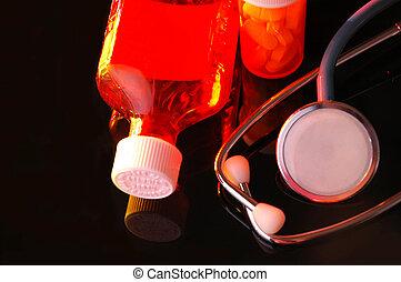 sztetoszkóp, és, gyógyszer palack