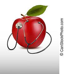 sztetoszkóp, és, piros, apple., orvosi, háttér., vektor