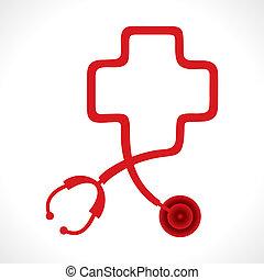 sztetoszkóp, csinál, egy, szív alakzat