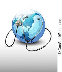 sztetoszkóp, ellen, egy, globe., vector.