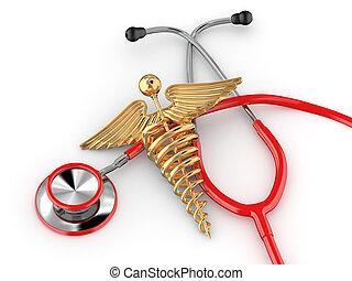 sztetoszkóp, noha, jelkép, közül, orvosság, caduceus.