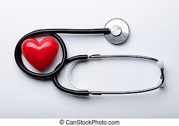 sztetoszkóp piros, háttér, fehér, felett, elrendez, szív