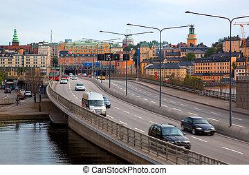sztokholm, sweden., ulica, do, śródmieście