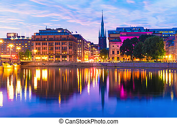 sztokholm, zachód słońca, szwecja