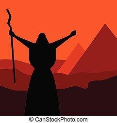 sztori, emberek, elrendezés, ünnep, jár, bérbeadás, az enyém, zsidó, passover., mozes, ki, egypt.