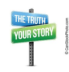 sztori, vagy, ábra, aláír, tervezés, igazság, -e