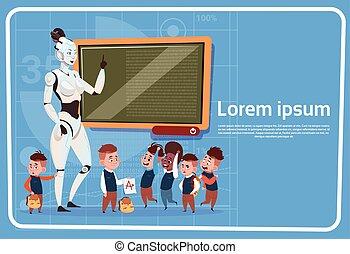 sztubacy, inteligencja, nowoczesny, robot, sztuczny, pojęcie, samica, nauczanie, technologia, nauczyciel, futurystyczny