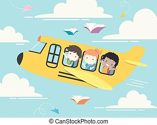 sztubacy, student, ilustracja, samolot