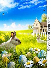 sztuka, łąka, jaja, królik, wielkanocna trusia