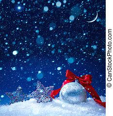 sztuka, śnieg, gwiazdkowa ozdoba, magia, światła, tło
