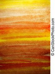 sztuka, barwiony, żółty, ręka, akwarela, projektować, tło, pomarańcza
