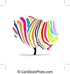 sztuka, barwny, drzewo, projektować, zebra, twój