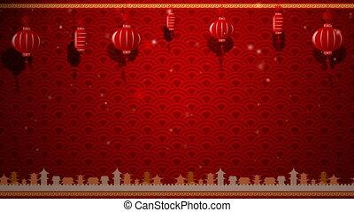 sztuka, chińczyk, przestrzeń, ruchomy, czerwone tło, kopia, brzeg, pętla, latarnia