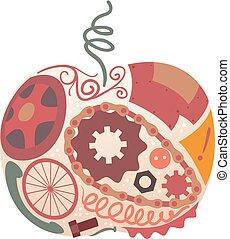 sztuka, dżonka, projektować, jabłko, ilustracja