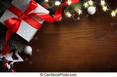 sztuka, dar, ozdoba, powitanie, tło, stół, ;, kartka na boże narodzenie