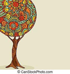 sztuka, drzewo, ilustracja, ręka, kwiatowy, pociągnięty, mandala